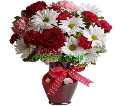 """""""Букет из роз, хризантем и гвоздик №231"""" в интернет-магазине цветов flowers.ck.ua"""